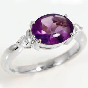 アメジストリングダイヤモンド ホワイトゴールドk18指輪 2月誕生石アメジスト バフトップカット K18wg|ma38