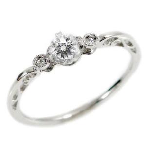 ダイヤモンド ホワイトゴールド 指輪 ダイヤ 0.22ct K18wg|ma38