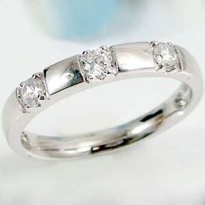 ダイヤモンド プラチナ スリーストーン ピンキーリング Pt900 指輪 ダイヤ 0.21ct|ma38