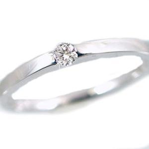 ダイヤモンド ピンキーリング ホワイトゴールドk10 一粒 ダイヤ 指輪 K10wg ma38