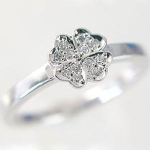 ダイヤモンド プラチナ ピンキーリング 四葉 クローバー パヴェリング Pt900 ダイヤ 0.08ct|ma38