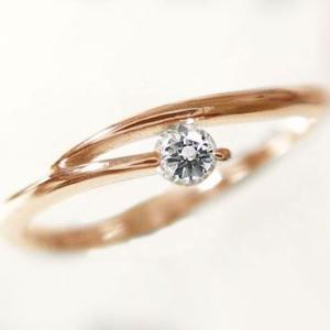 一粒 ダイヤモンド リング ピンクゴールド ピンキーリング  K10PG 指輪 ダイヤ 0.1ct ma38
