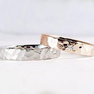 ダイヤモンド ピンクゴールド ホワイトゴールド ペアリング 結婚指輪 マリッジリング 2本セット K10 指輪 ダイヤ 0.01ct ma38