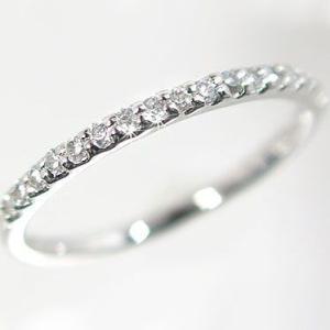 プラチナ ダイヤモンド ハーフ エタニティリング 一文字 PT900 指輪 ダイヤ 0.2ct|ma38