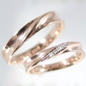 ダイヤモンド ピンクゴールド ペアリング 結婚指輪 マリッジリング 2本セット K10PG 指輪 ダイヤ 0.02ct ma38