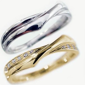ダイヤモンド イエローゴールド ホワイトゴールド ペアリング 結婚指輪 マリッジリング 2本セット K18yg K18wg ダイヤ 0.08c|ma38