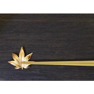 葉っぱの箸置き 紅葉 ゴールド 作用 葉枝置き|maaoyama