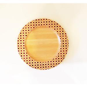 寄木細工のお皿 リムプレート 市松21cm|maaoyama