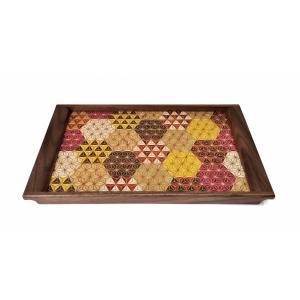 箱根寄木細工の袖付長角盆 小 麻の葉亀甲柄|maaoyama