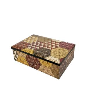 箱根寄木細工 6寸小物入れ 麻の葉亀甲柄 アクセサリーボックス|maaoyama