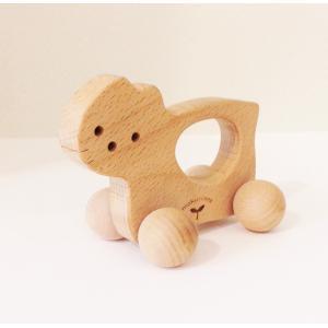 木のおもちゃ にぎり車 ねこ|maaoyama