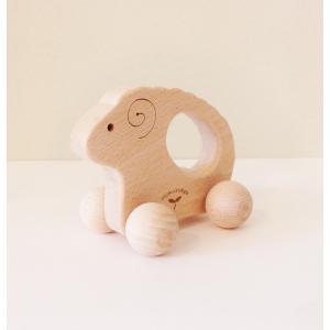木のおもちゃ にぎり車 ひつじ|maaoyama