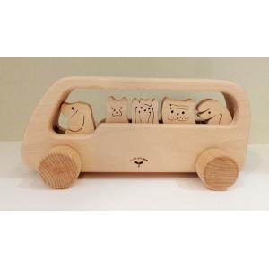木のおもちゃ のせっこバス イヌ|maaoyama