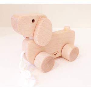 木のおもちゃ ひっぱり車 いぬ|maaoyama