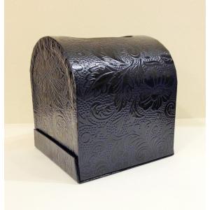 うるし紙 ティッシュボックス 紺色|maaoyama