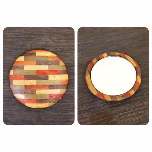 箱根寄木細工のモダンでスタイリッシュな柄の手鏡|maaoyama
