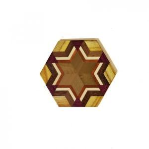 箱根寄木細工のモダンな柄の無垢のコースター 六角|maaoyama