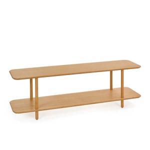 すっきりとしたデザインの竹集成材のオープンシェルフです。  角は丸く削られお子さんでも安心。  端を...