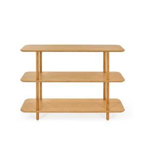 すっきりとしたデザインの竹集成材のオープンシェルフです。  角が丸くカットされているのでお子さんが走...