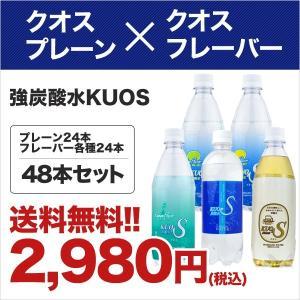 強炭酸水クオス48本セット プレーン24本と選べるフレーバー (レモン・ライム・ラムネ・ビア) 24本