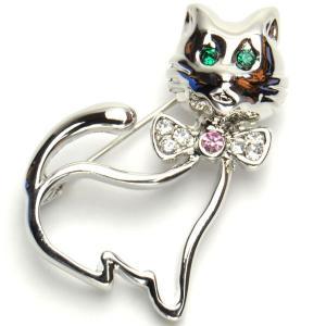 ■商品詳細 ゜.:*♪人気商品゜.:*♪  ☆レディースブローチ☆  エレガントな猫モチーフのとって...