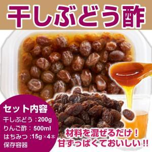 干しぶどう酢キット 干しぶどう 200g りんご酢500ml はちみつ15g×4本 保存容器 あさイチ