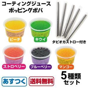 即納 コーティングジュース ポッピングボバ 5種類セット マンゴー キウイ ストロベリー ピーチ ブルーベリー インスタ