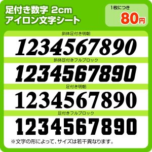 アイロンワッペン 背番号胸番号用足付き2cm|maccut