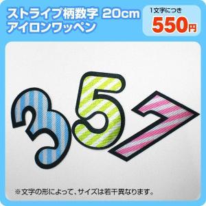 アイロンワッペン カラフルストライプ柄(数字20cm)|maccut