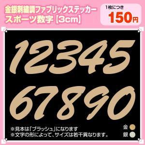ファブリックシール(布製ステッカー)数字 スポーツ書体3cmサイズ(金・銀) 刺繍調|maccut