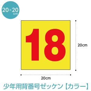 背番号ゼッケン カラー少年用 W20cm×H20cm|maccut