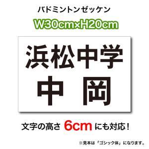 バドミントンゼッケン(3段レイアウト)  文字の高さ6cmに対応 W30cm×H20cm
