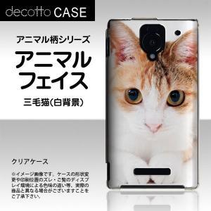 AQUOS PHONE Xx 302SH 専用スマホカバー 【アニマル 柄 / 猫 三毛猫 白背景 】 [クリア(透明)ケース]|machhurrier