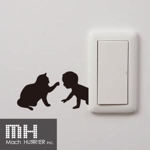 ウォールステッカー 【 スイッチステッカー / 赤ちゃん&猫02 柄】|machhurrier