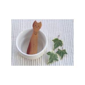 動物たちのスプーンシリーズ ネコのおやつスプーン 材質:サオ|machimishi