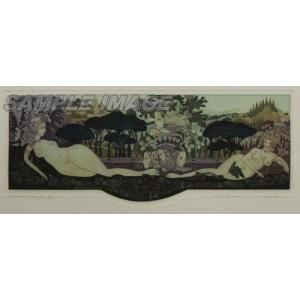 山下清澄「壁画風女の図像 ローマの松」(版画)【額縁無し】[A200003]Kiyozumi Yamashita|machinoiriguchi2
