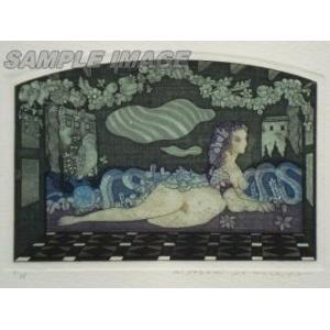 山下清澄「壁画風女の図像 月光の誘惑」(版画)【額縁無し】[A200004]Kiyozumi Yamashita|machinoiriguchi2