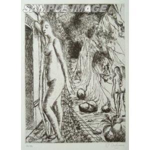 ポール・デルヴォー「7つのダイアローグ」よりNo.3(版画)【額縁付き】[A940005]Paul Delvaux machinoiriguchi2