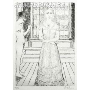 ポール・デルヴォー「ステンドグラス」(版画)【額縁無し】[A990009]Paul Delvaux machinoiriguchi2