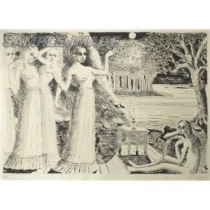 ポール・デルヴォー「地の果て」(版画)【額縁付き】[A060011]Paul Delvaux machinoiriguchi2