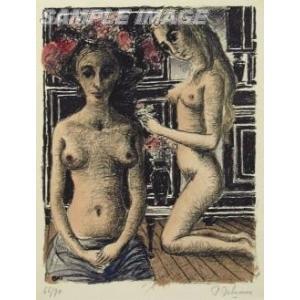 ポール・デルヴォー「フィリーヌ」(版画)【額縁付き】[A950001]Paul Delvaux machinoiriguchi2