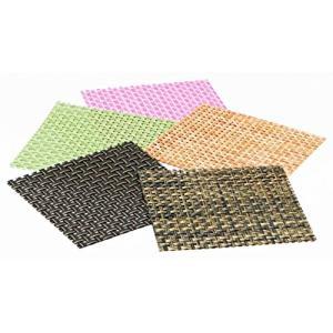 おしゃれ コースター 5色セット ( 1組 ) ブラックステッチ・ブラウンメッシュ・オレンジ・ピーチ(桃) ・グリーン(緑) maedaya