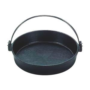 すき焼 鍋 ツル付(黒塗り) 鉄製 22cm IH対応 日本製 国産 鉄分 補給 ぎょうざ・パエリア にも|maedaya