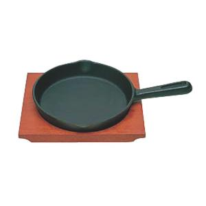 日本製 IH 対応 ステーキ 皿 セット 17cm 自宅でも使える プロ仕様 ハンバーグ スパゲティー 焼きそば など 鉄板焼 にも 木台 取り外し式 柄付 丸型 maedaya