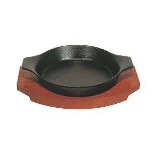 日本製 IH 対応 ステーキ 皿 セット 17cm 自宅でも使える プロ仕様 ハンバーグ スパゲティー 焼きそば など 鉄板焼 にも 木台 取り外し式 持ち手付 丸型 maedaya