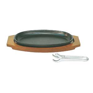 日本製 IH 対応 ステーキ 皿 セット 20cm×14.5cm 小判型 ハンバーグ スパゲティー 焼きそば 鉄板焼 にも! ※ハンドル別売り maedaya