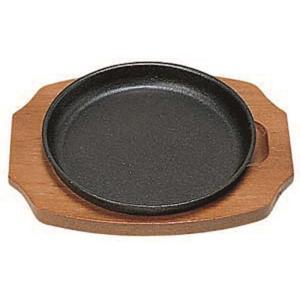 日本製 IH 対応 ステーキ 皿 セット 15cm 自宅でも使える プロ仕様 ハンバーグ スパゲティー 焼きそば など 鉄板焼 にも 木台 取り外し式 丸型 maedaya