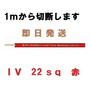 IV 22sq 赤 600Vビニル絶縁電線 1mから切断します|maegawadenki2