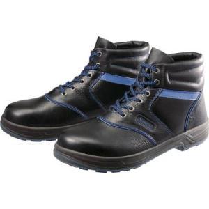 シモン 安全靴・編上靴・SL22―BL黒/ブルー・23.5cm SL22BL-23.5