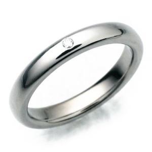 チタンリング ダイヤ0,01ct入 ペアリング マリッジリング 結婚指輪 製造販売 彫刻無料 TIRR03D|maestrokan